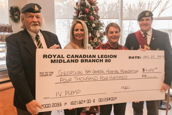 Royal Canadian Legion Midland Branch 80 buys IV Pump for patients at GBGH